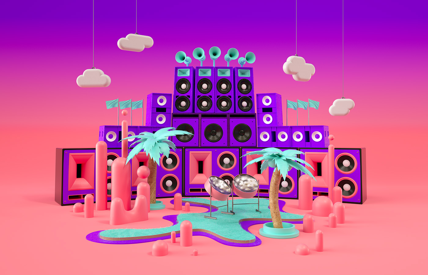 3D lowpoly Red Bull NOTTINGHILL Carnival Tropical sound rig speakers