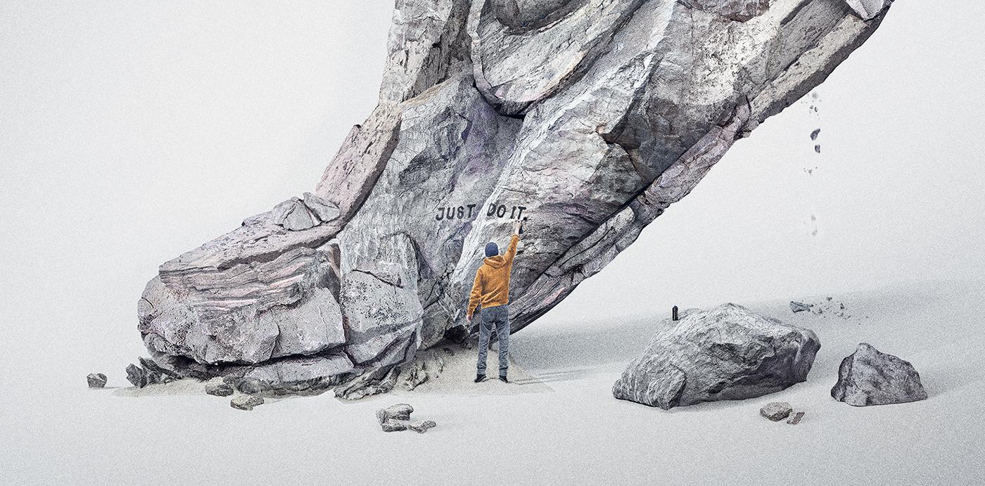 composing creative Digital Art  franko schiermeyer new Nike photoshop rock sport sneaker