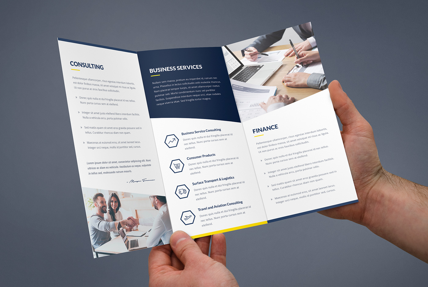 Brochure finance and business tri fold template on behance for Financial brochure templates