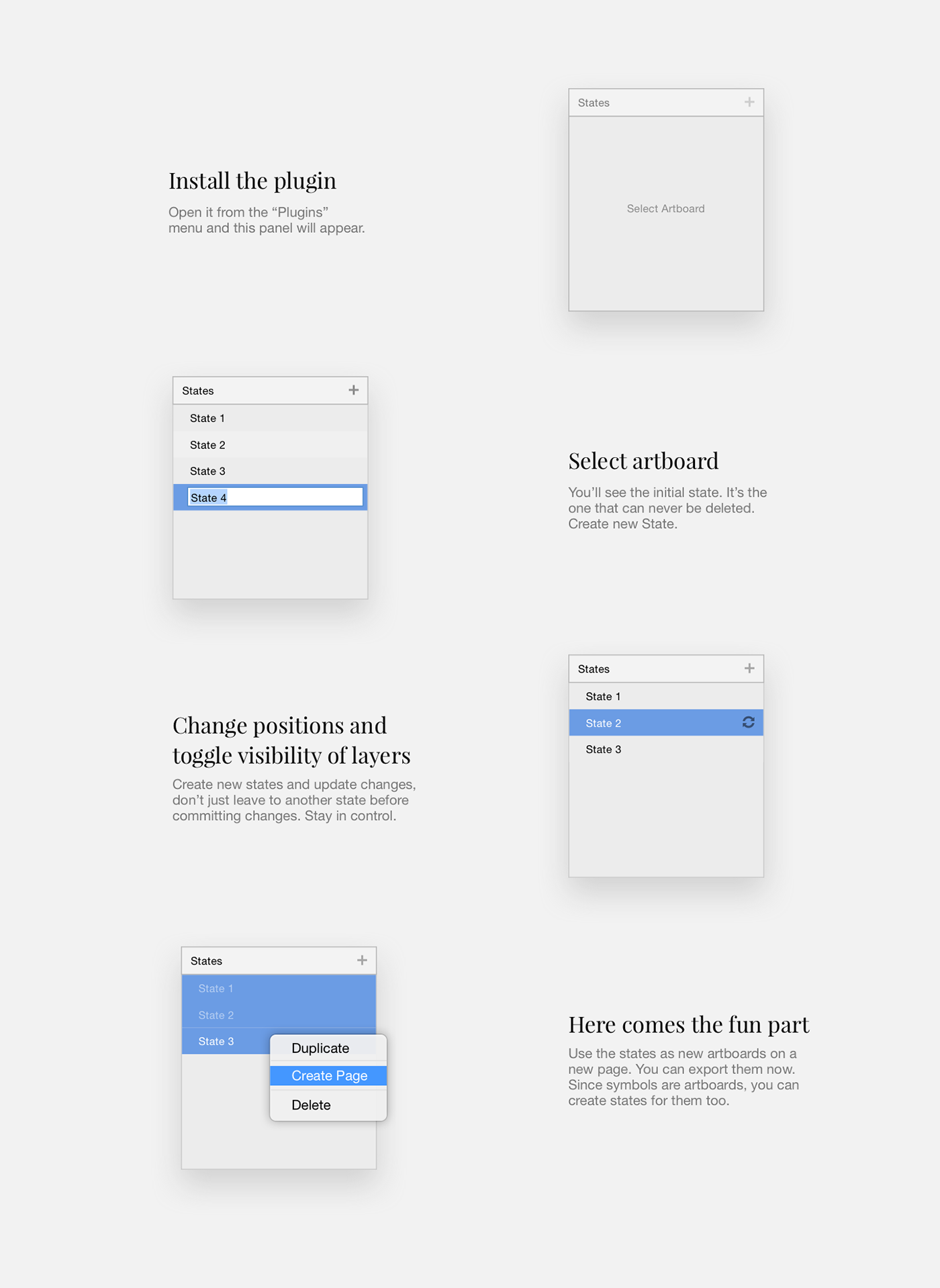 States of the artboard - Sketch Plugin on Behance