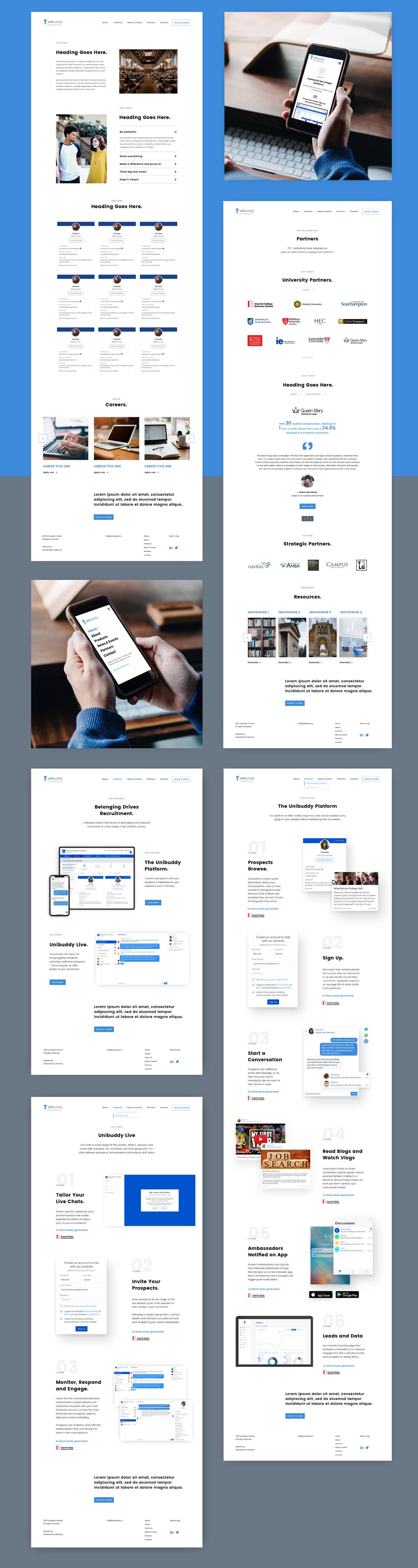 Webdesign UI ux Education product website University Recruitment software website Website Design Clean Design animation effects