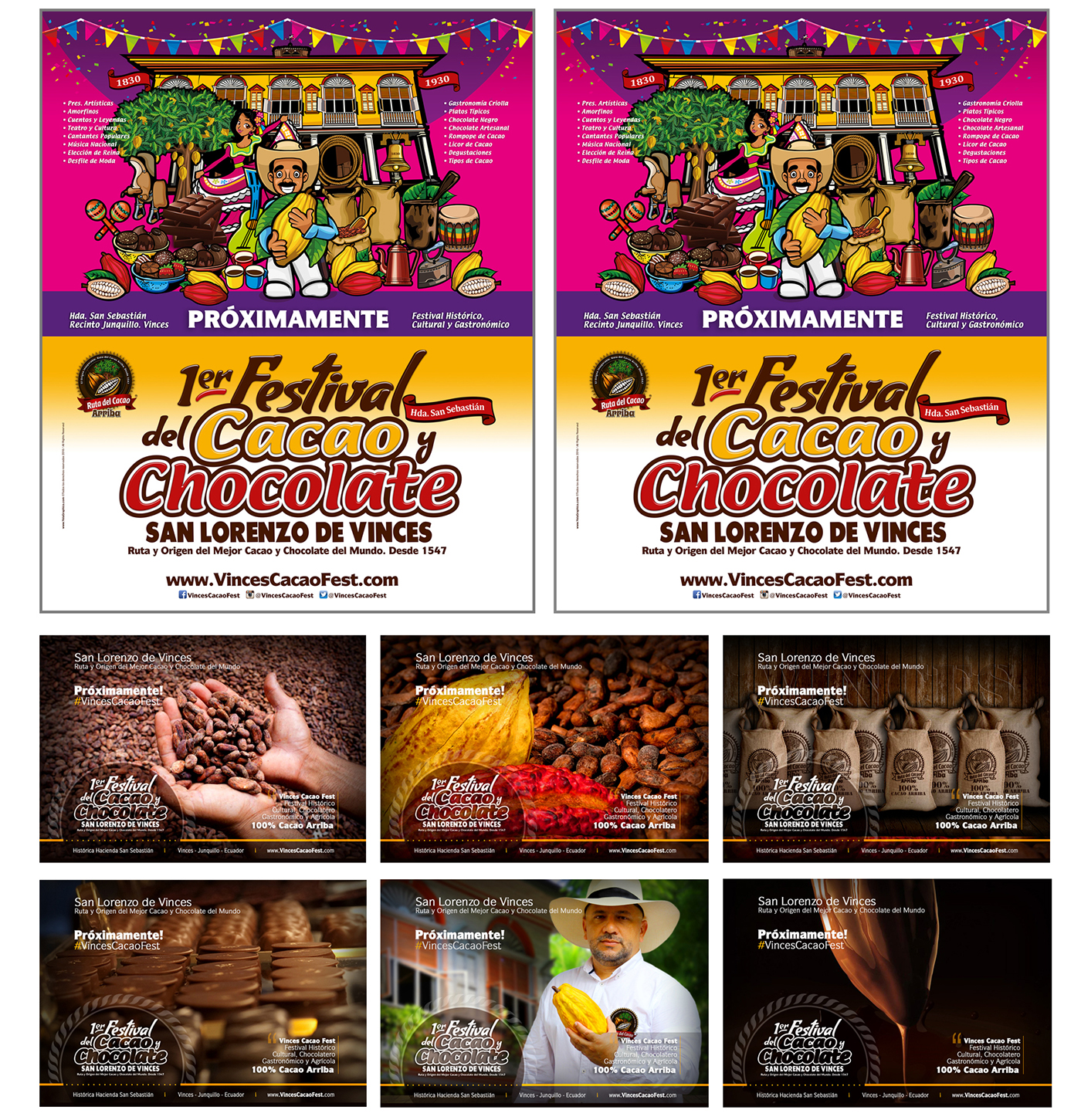 cacao Cocoa chocolate Vinces Ecuador guayaquil cacao fest festival Travel poster