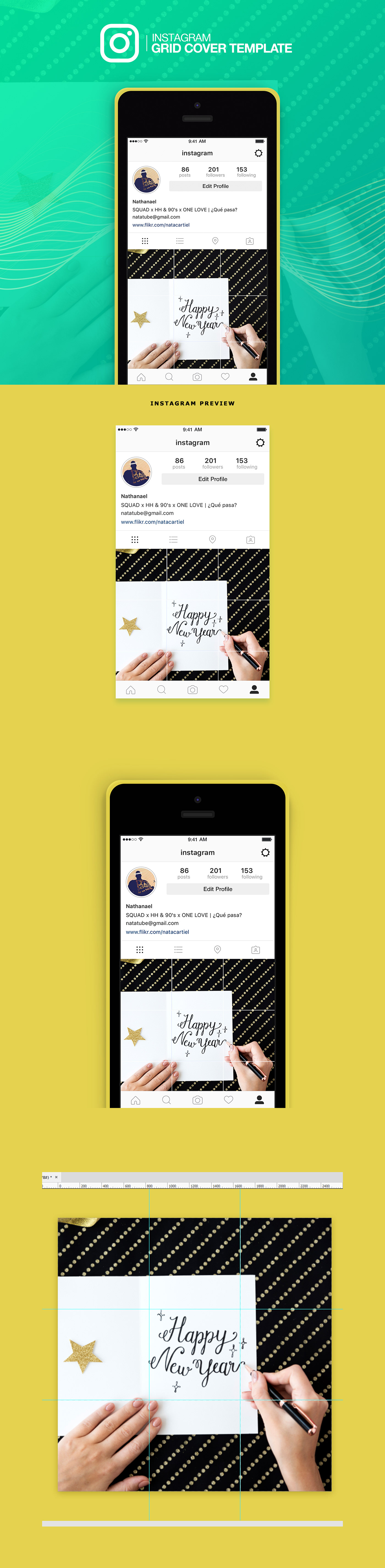 app design download free free psd freebies instagram grid cover grid cover template instagram grid template Instagram template