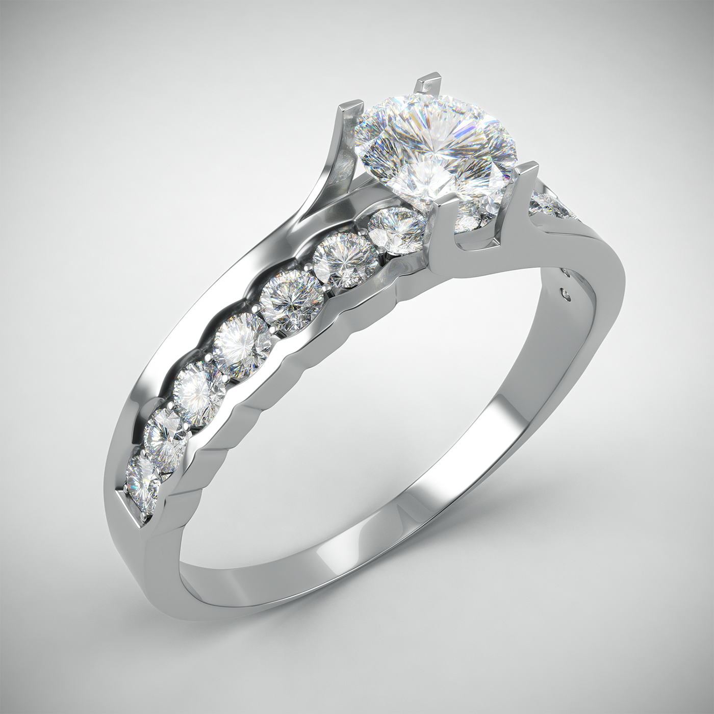 ring gold White Gold jewelry visualization 3D rendering Gems diamonds