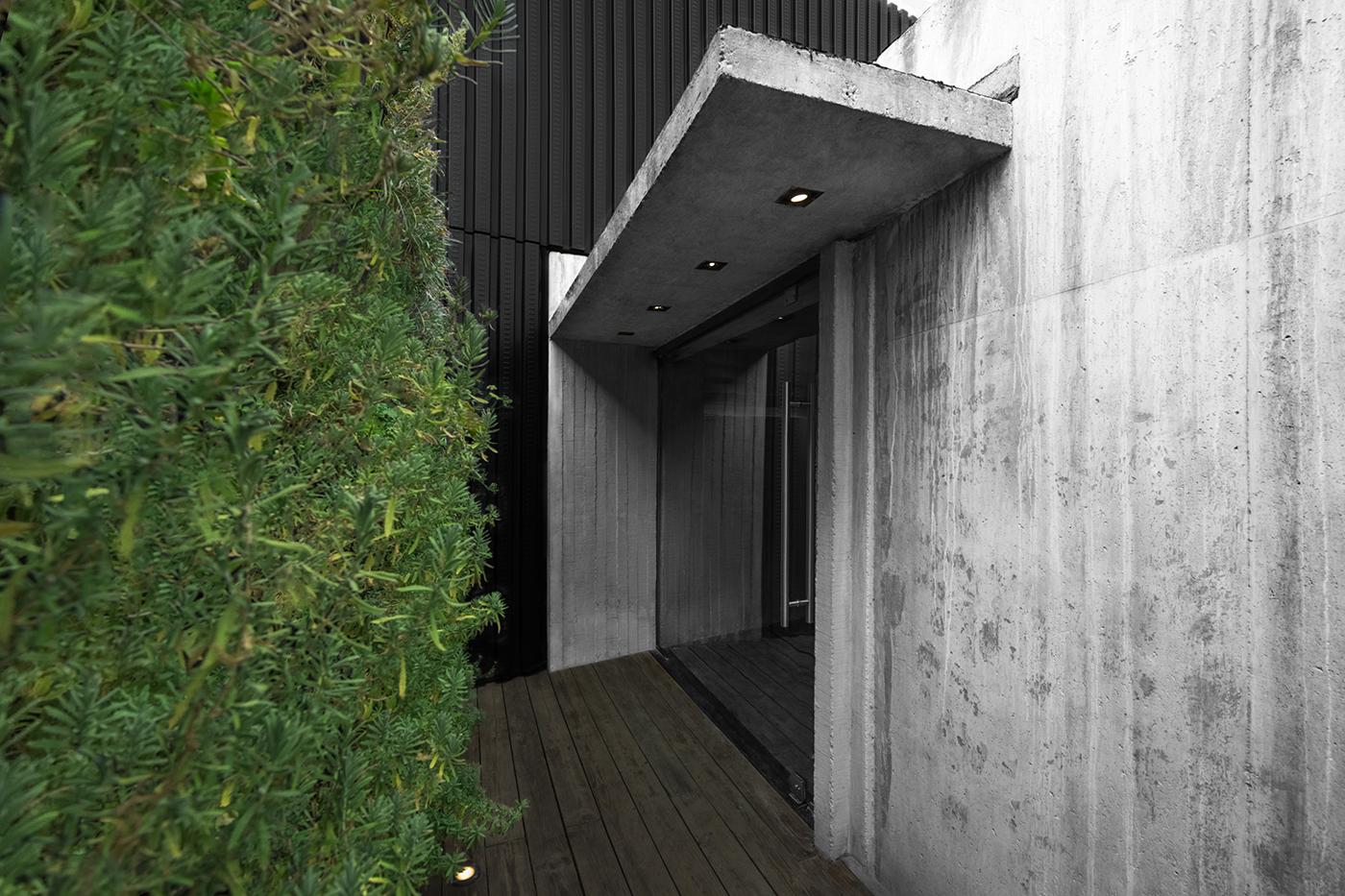 interiors design concrete sculpture gold aluminium restaurant Nature chef architecture
