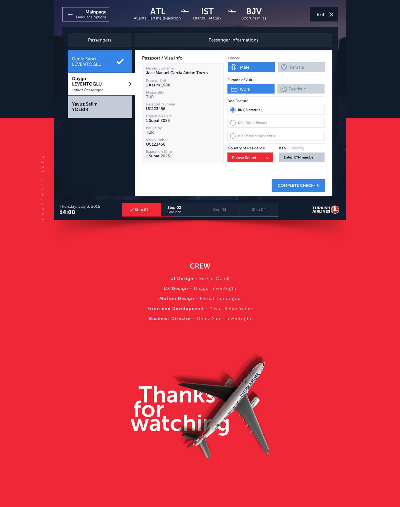 kiosks checkin seat Plan ticket plane turkish Airlines UI ux