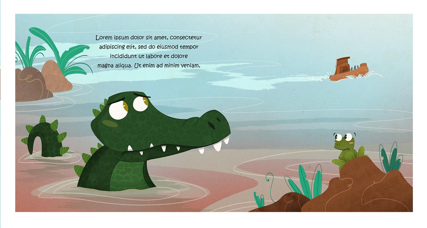 ilustración infantil cocodrilo albumilustrado Rana infantil book children