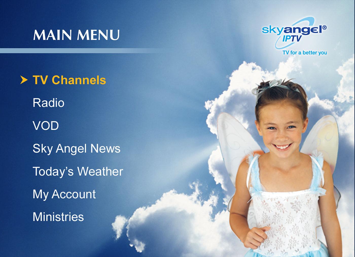 SKY angel  ipTV  GUI  tv  screen  logo interactive  guide