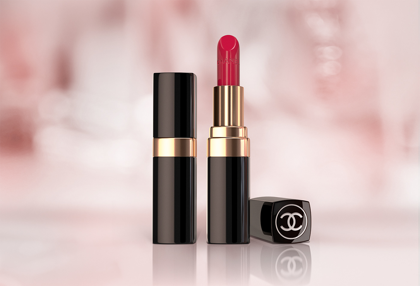 3D CGI vray Visualising chanel lipstick beauty Make Up product