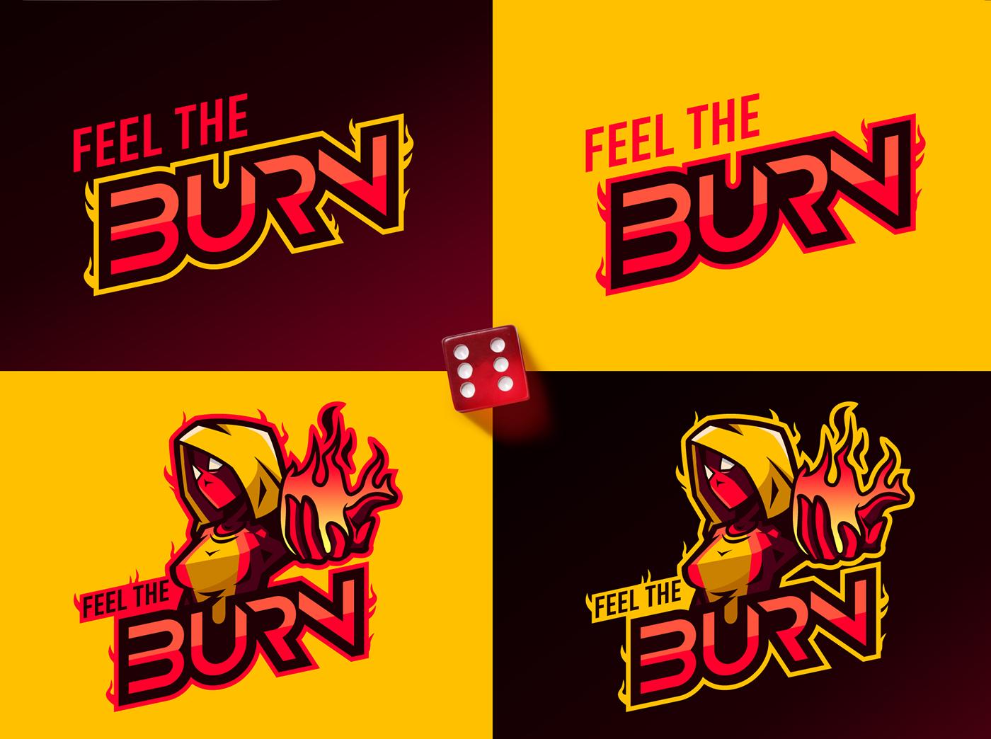 variations of fiery mascot logo