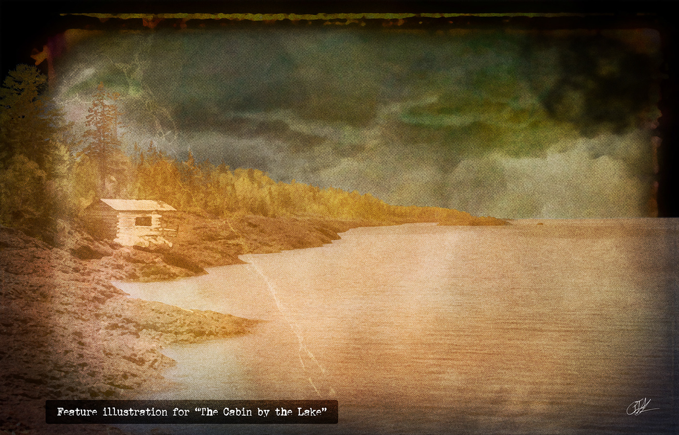 A cabin on the lake shore with ghosts hovering on the horizon.