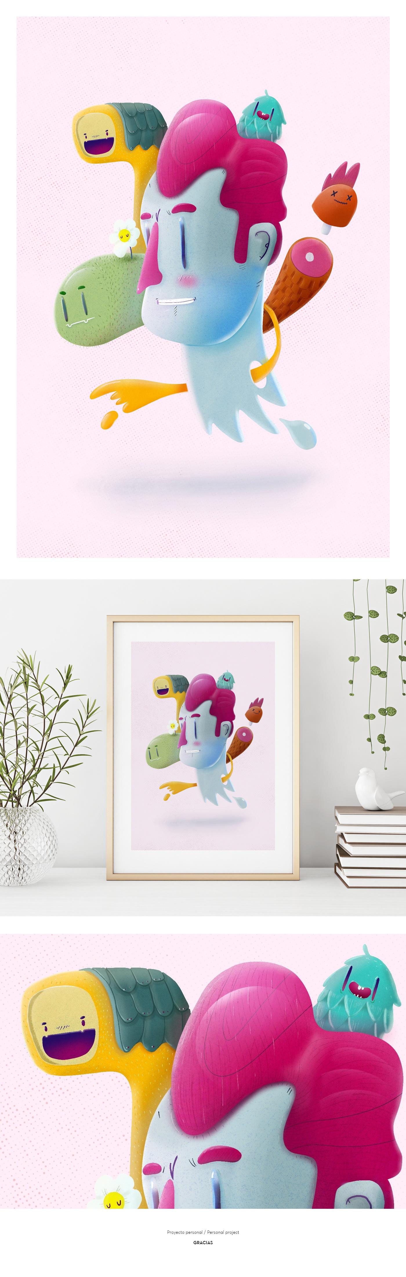 ILLUSTRATION  Procreate Character print poster ilustracion dibujo monster