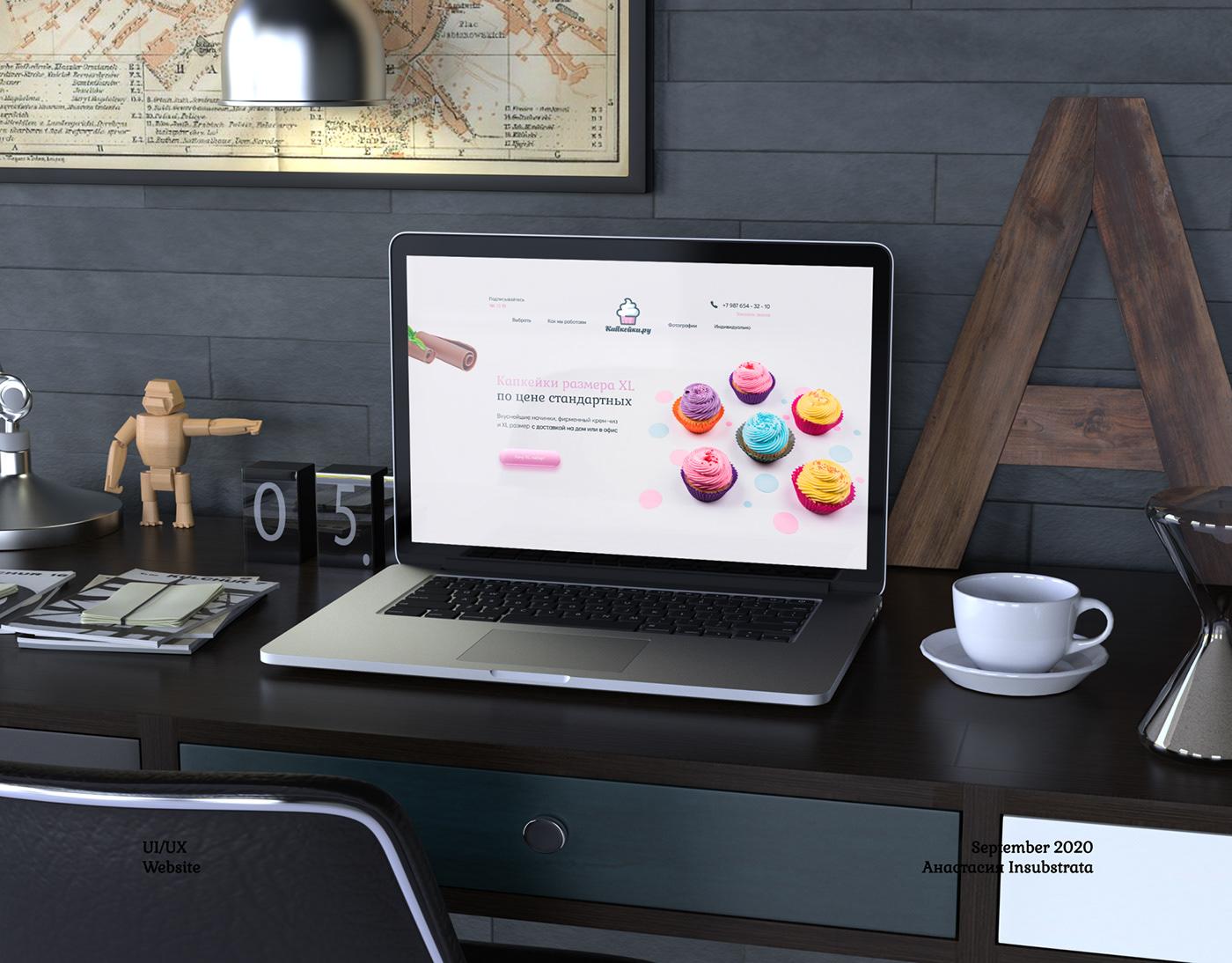 cupcakes landing page online store portfolio UI ux Website капкейки кексы сайт