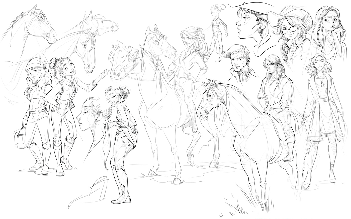 Character design ,woman,Expression,sketch,hand drawn,sketchbook,people,horses,equine,animals