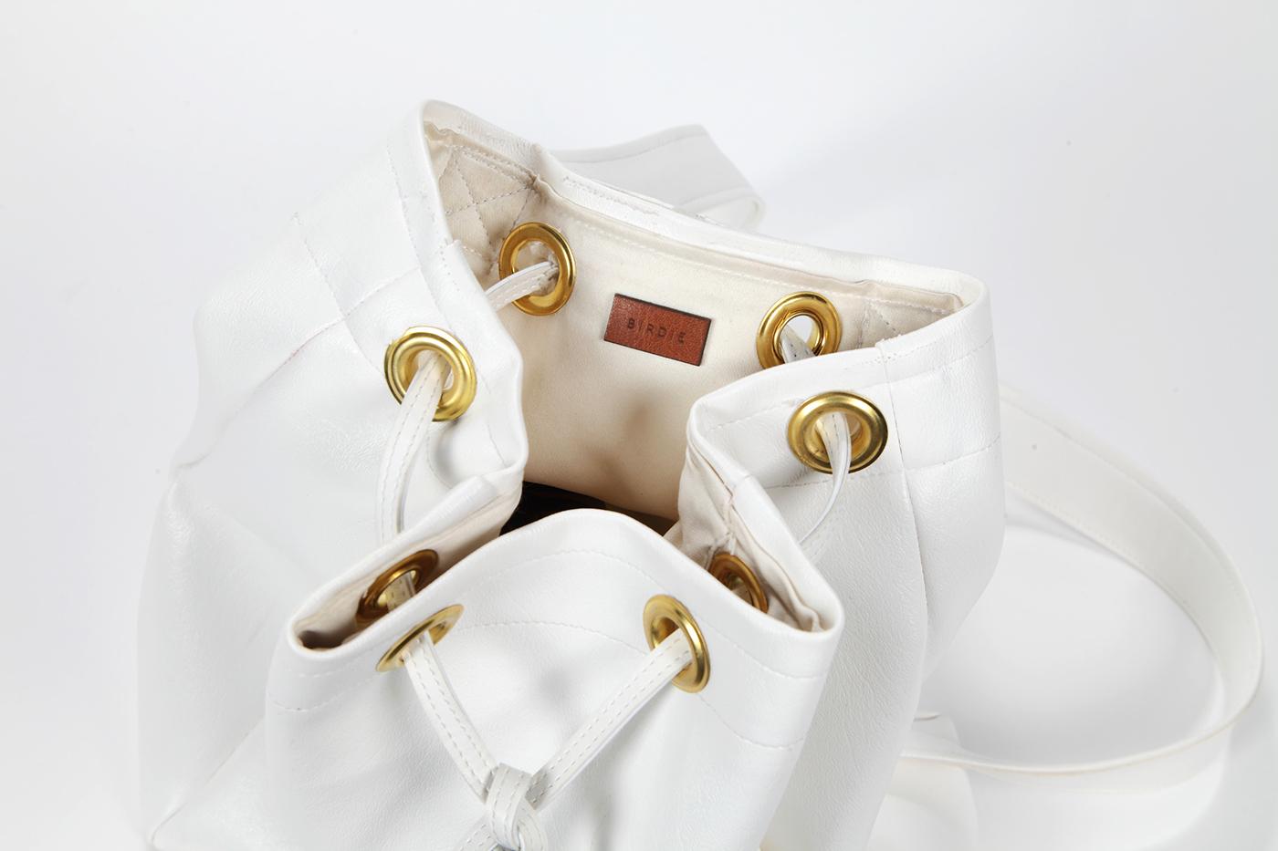 bag backpack minimal design White gold birdie Fashion