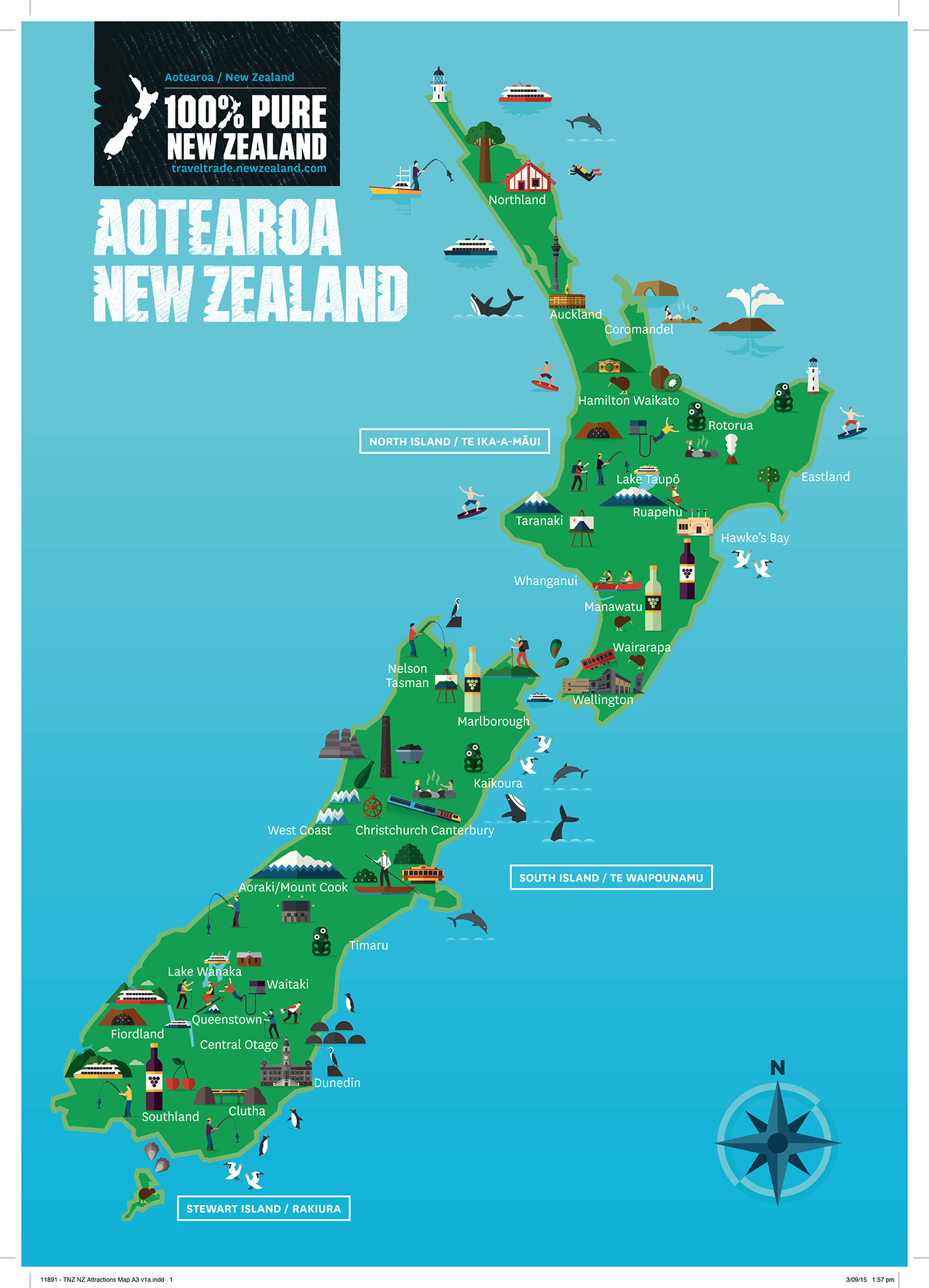Tourism New Zealand Map On Behance