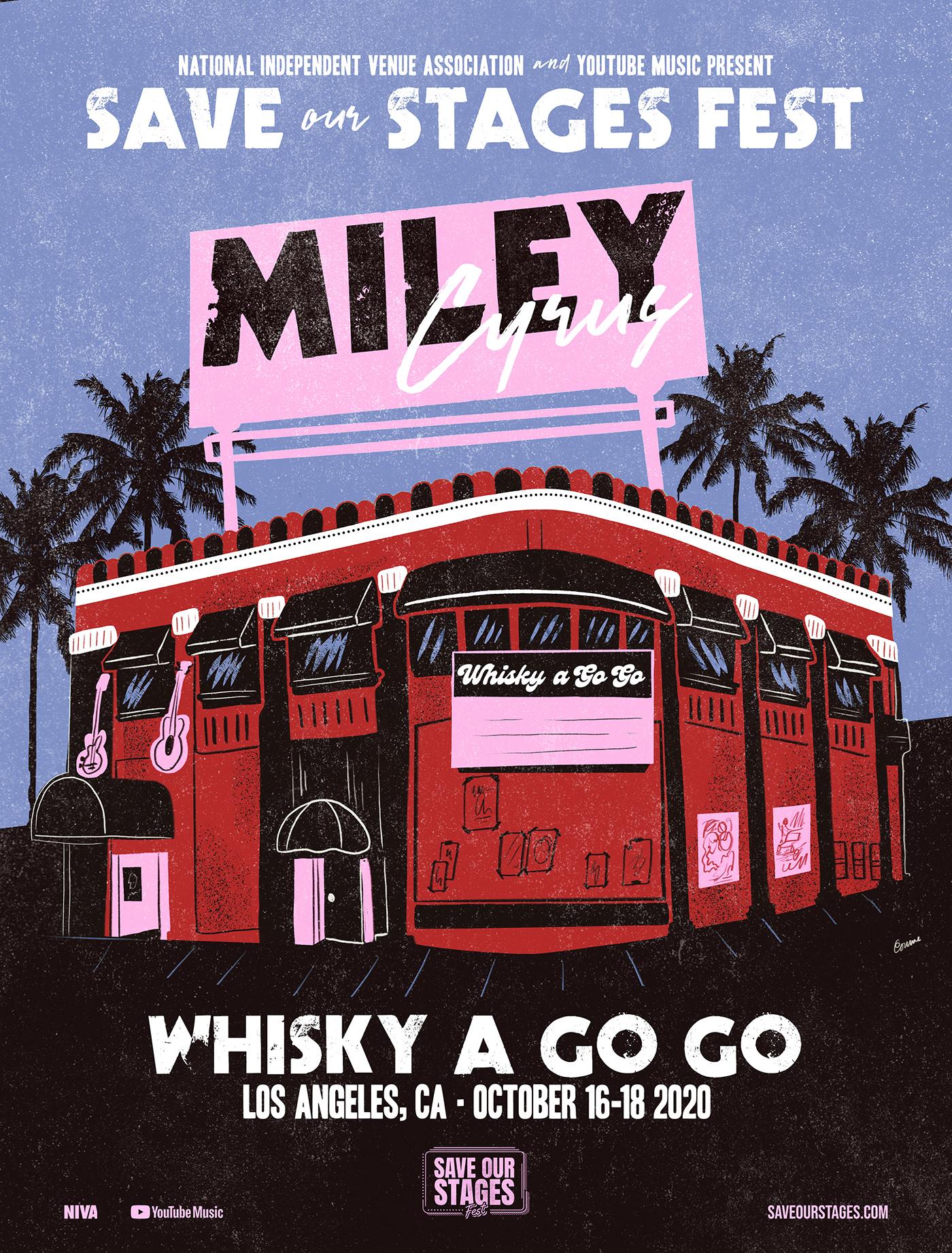 festival poster gig poster graphic design  ILLUSTRATION  Illustrator miley cyrus Music Artwork show poster