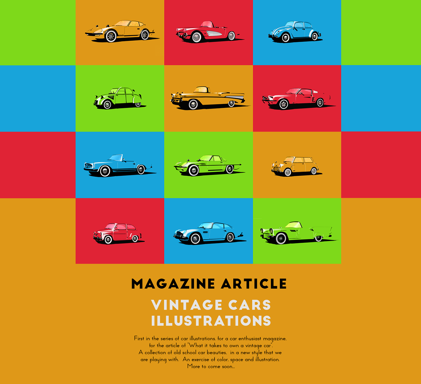 Vintage Cars - Magazine article illustrations on Behance
