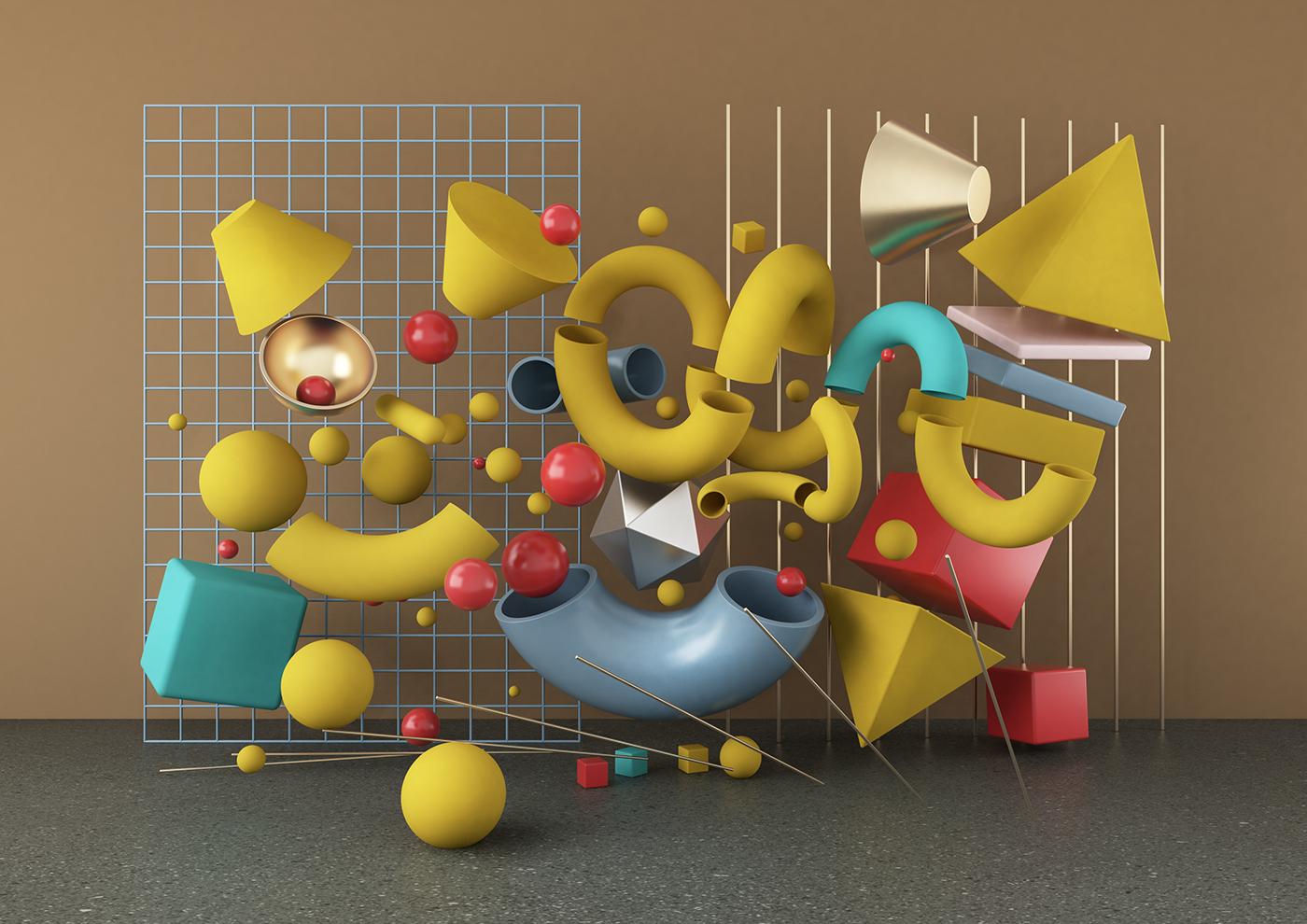 Arman accumulation 3D set 3D Set Design 3D illustration Elise CG Set 3D object 3d design 3dcg