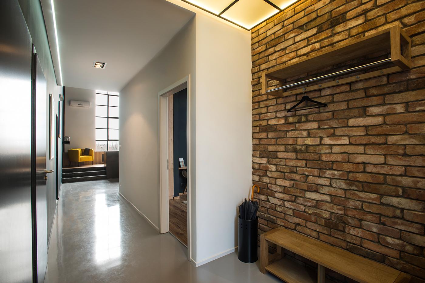 budapest studio LOFT brick wall interiordesign gasparbonta concrete steel frame anthracite flat home bachelor pad