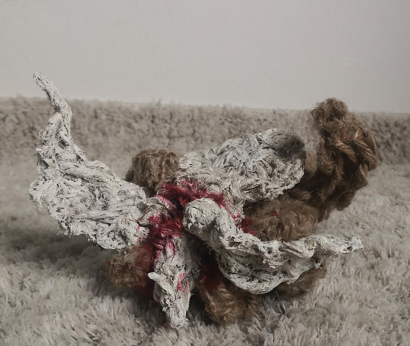 Arduino dove emotion feeling interactive art kinetic art mouvement Proximity sensor textile art
