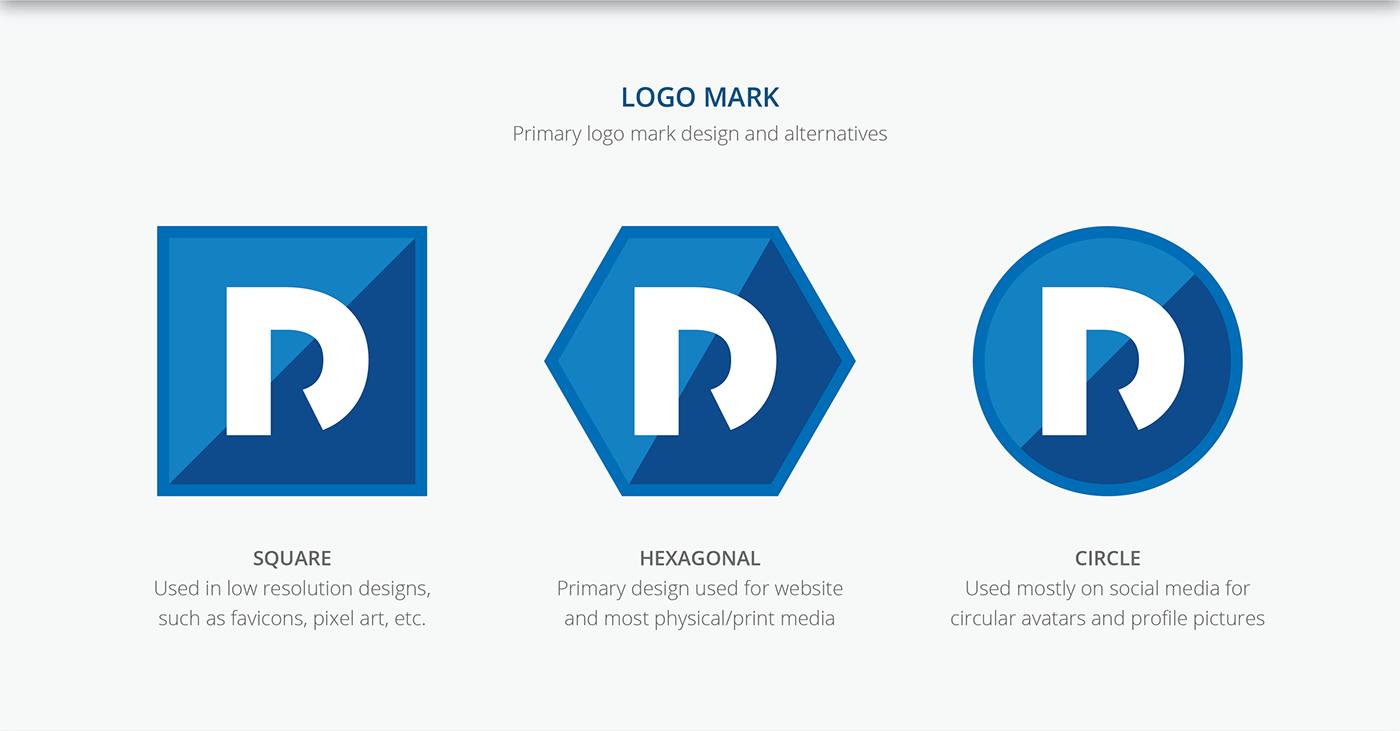 Personal Brand branding  flat logo icons hexagonal hexagon