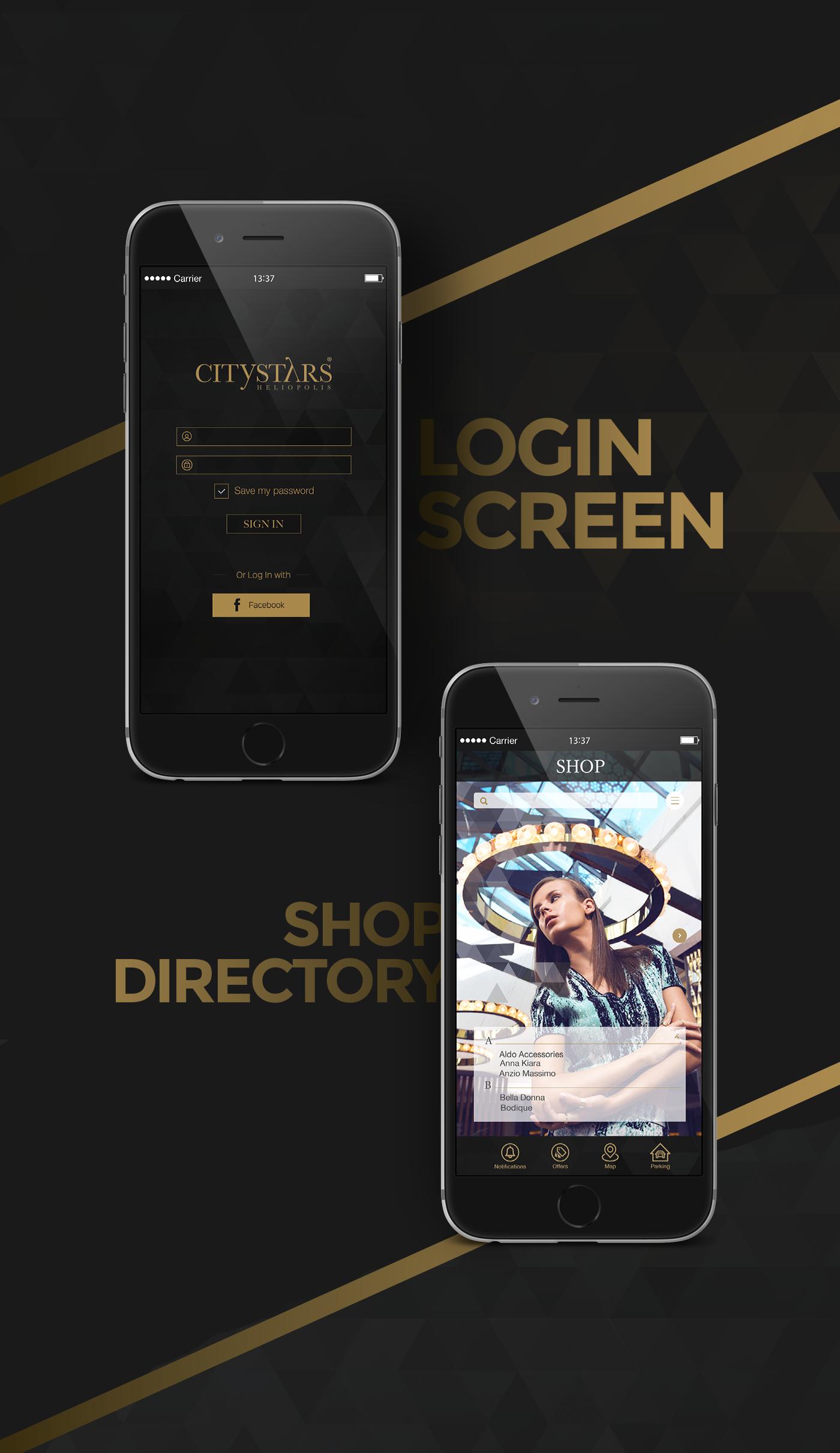 mobile application UI ux Interface citystars egypt cairo Brandinc brandinc. mall app store zara