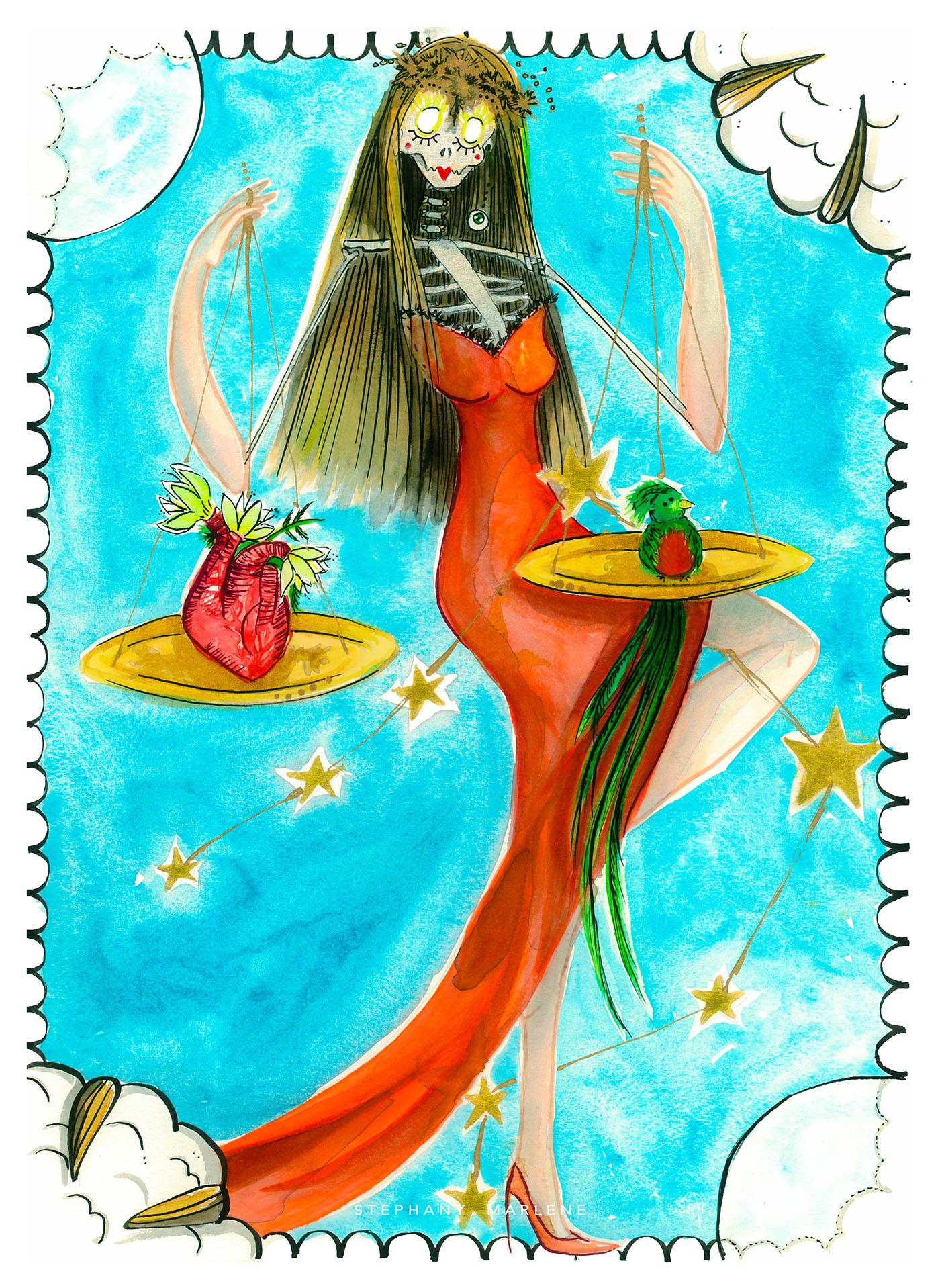 miss catrina libra Astrology zodiac art watercolor mexico stephanymarlen3 death catrina