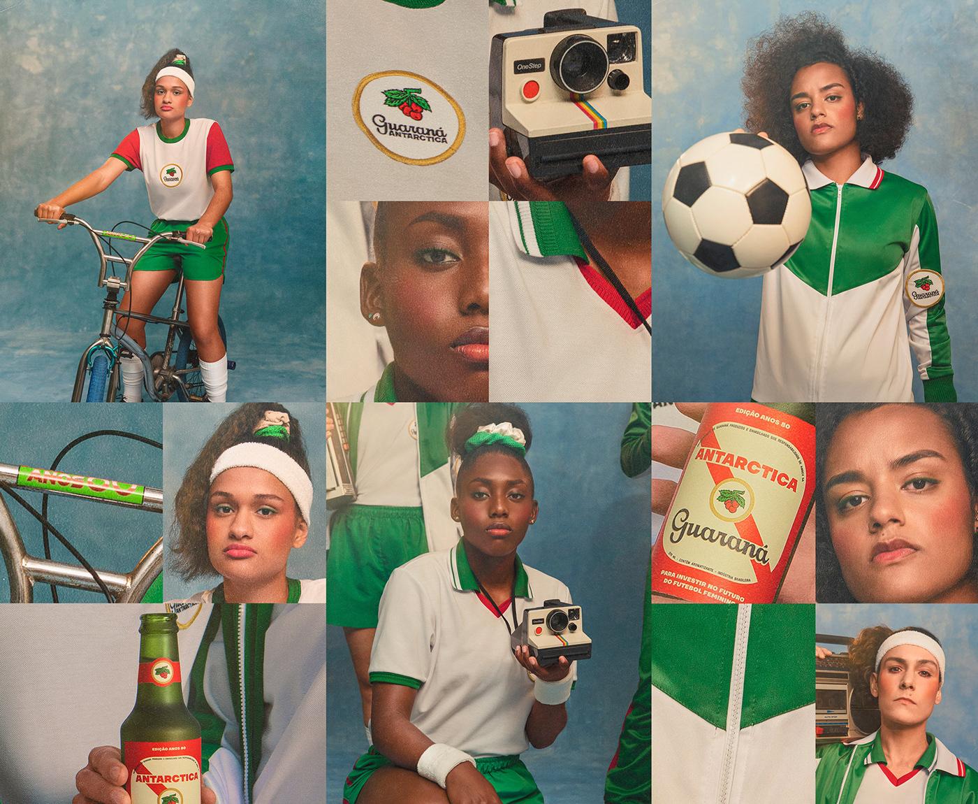 80s ambev campanha Direção de arte futebol Futebol feminino guarana antarctica packaging design publicidade Retro