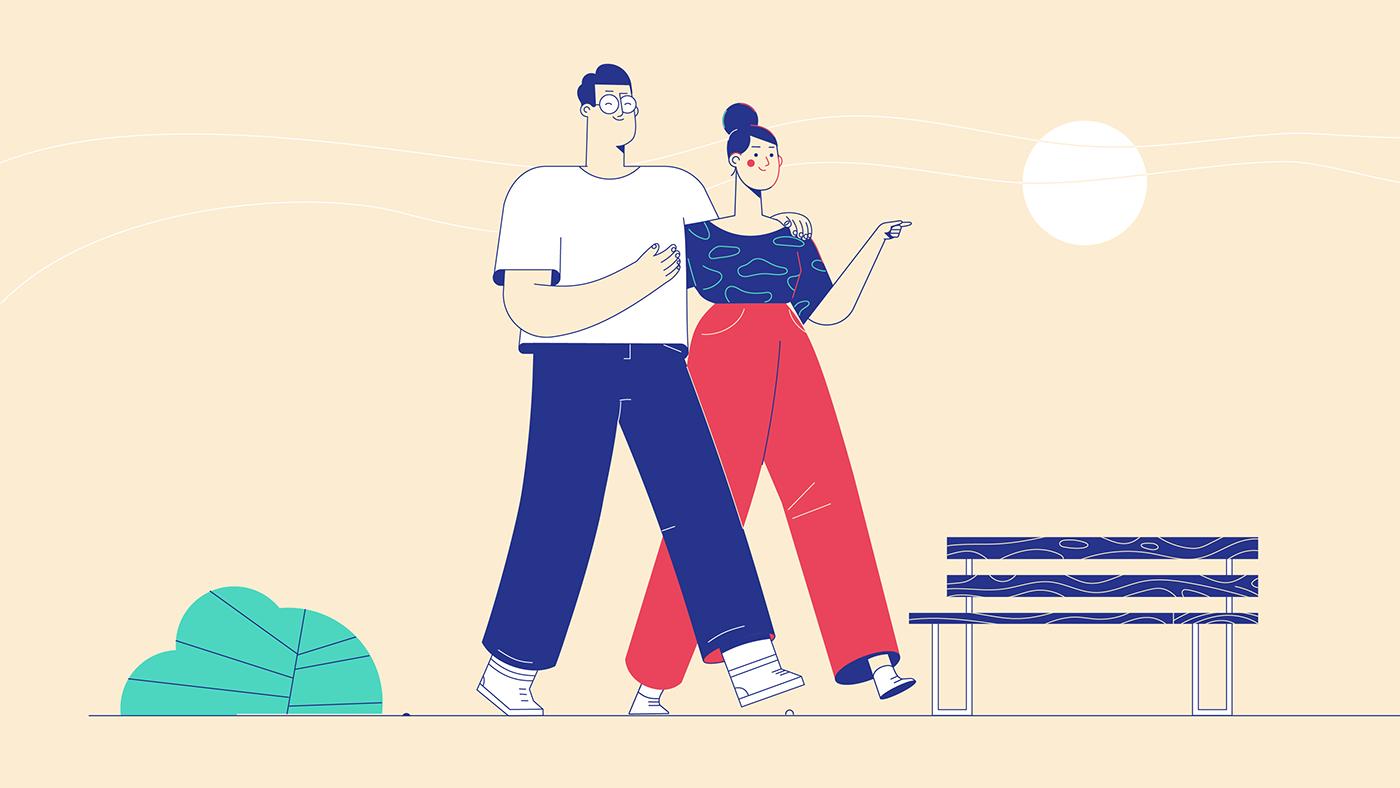 Couple taking a walk - Illustration