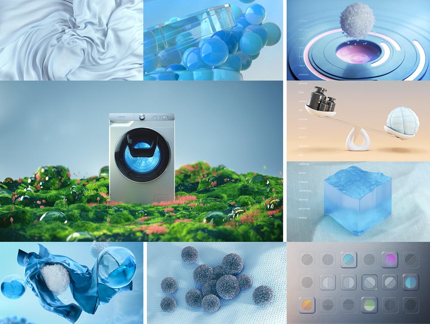 Still frames from Samsung Washing Machine animation