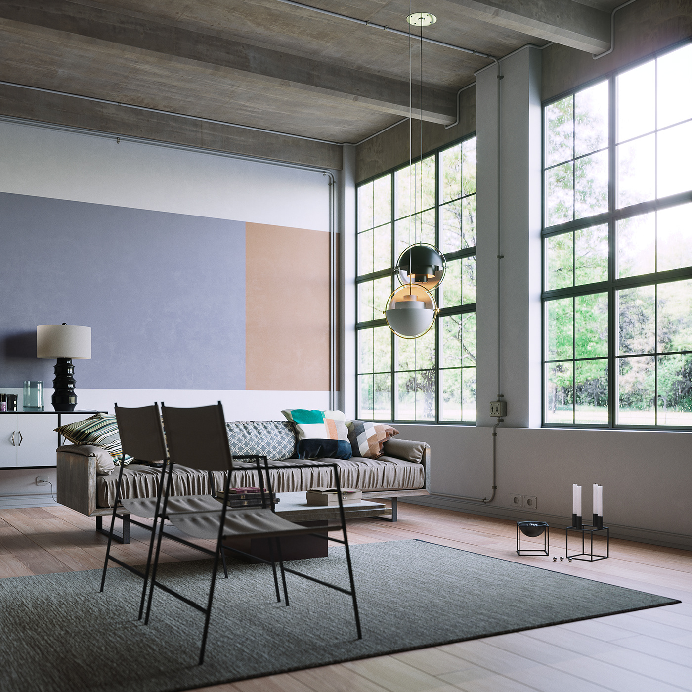 industrial LOFT cinema4d corona Render archviz Interior scene 3D