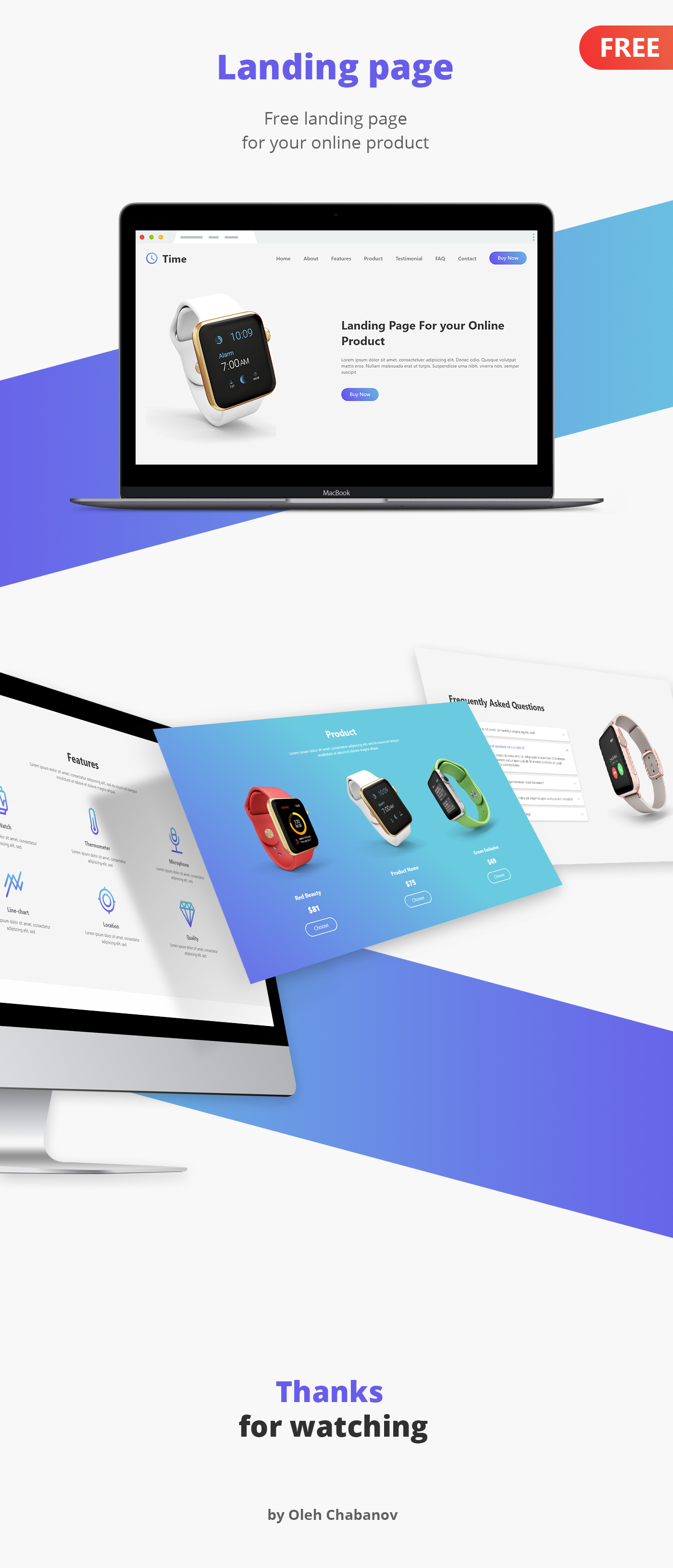 Free Smartwatch Landing Page for Adobe XD