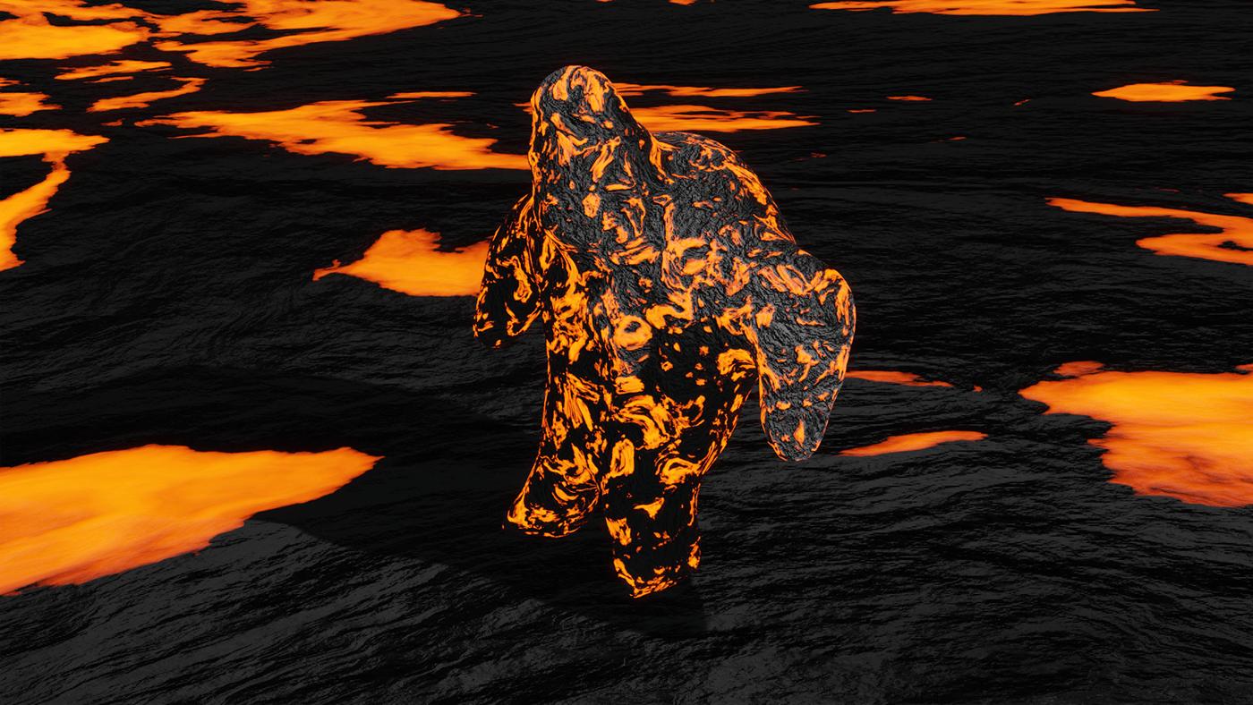 3D blender golem lava Lava Golem sculpture