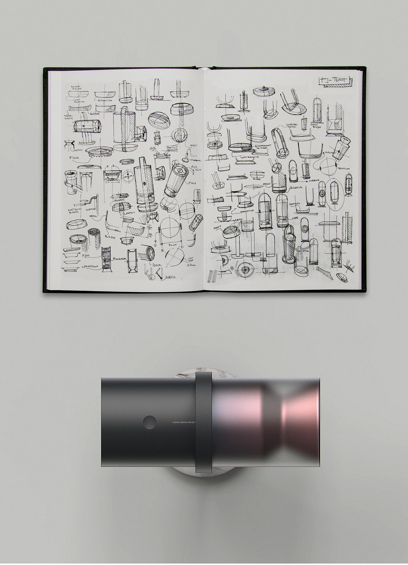 Projector projectors product design  industrial design  light wireless Smart clean minimal design