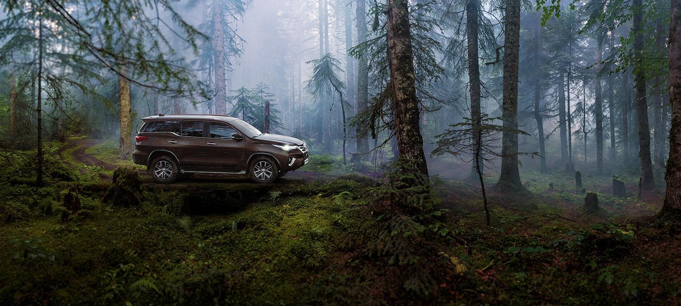 3D car Render postproduction forest toyota forester Landscape