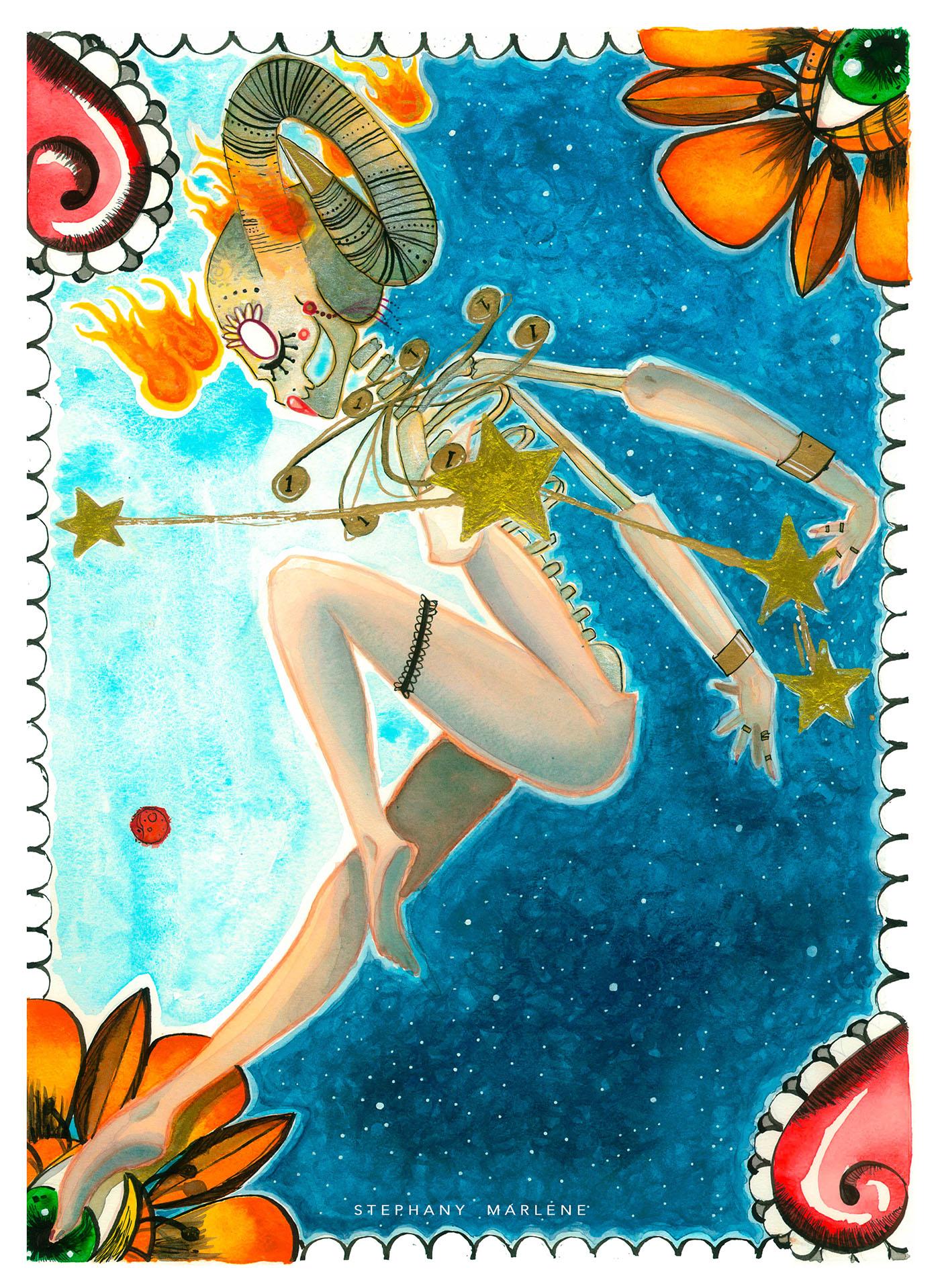 miss catrina aries watercolor stephanymarlen3 zodiac catrina tijuana death mexico