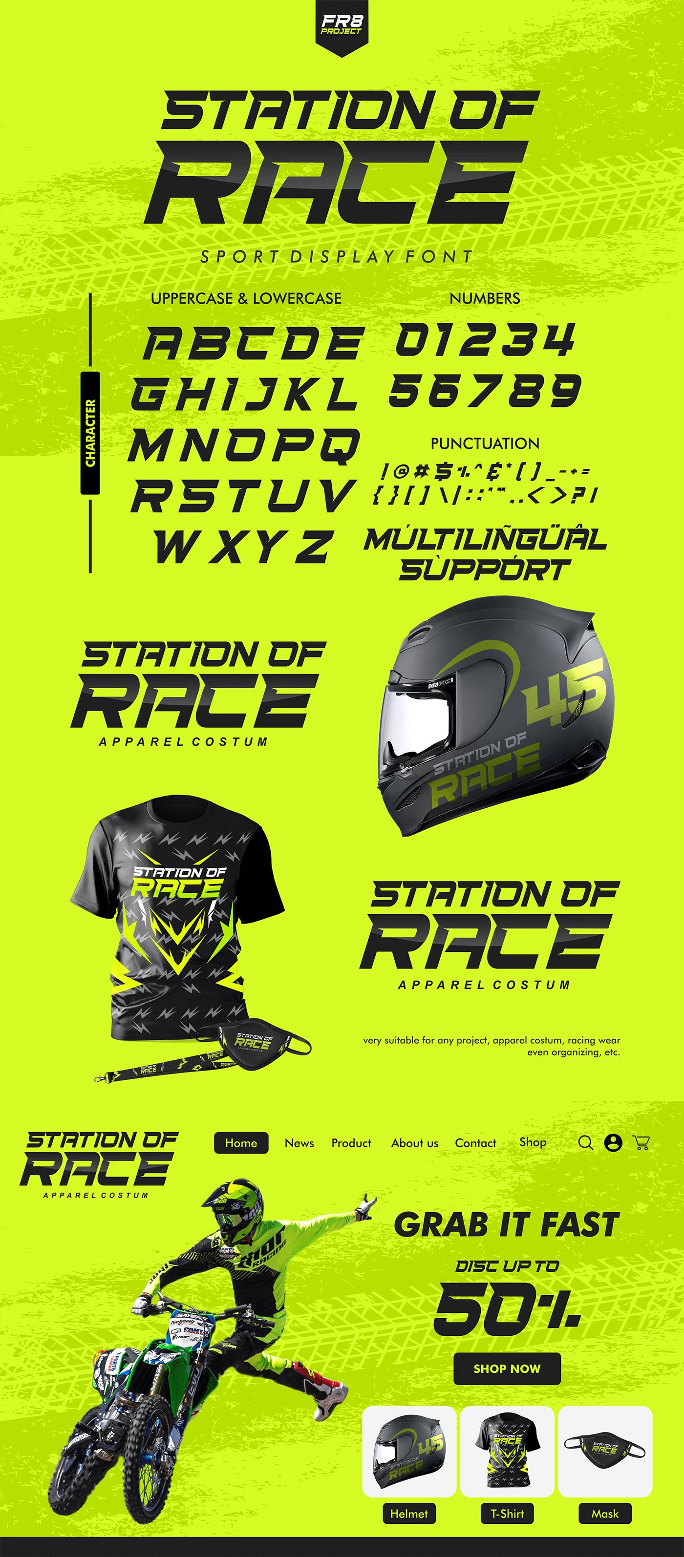 apparel branding  Display font Games Helmet jersey motorcycle Racing sport