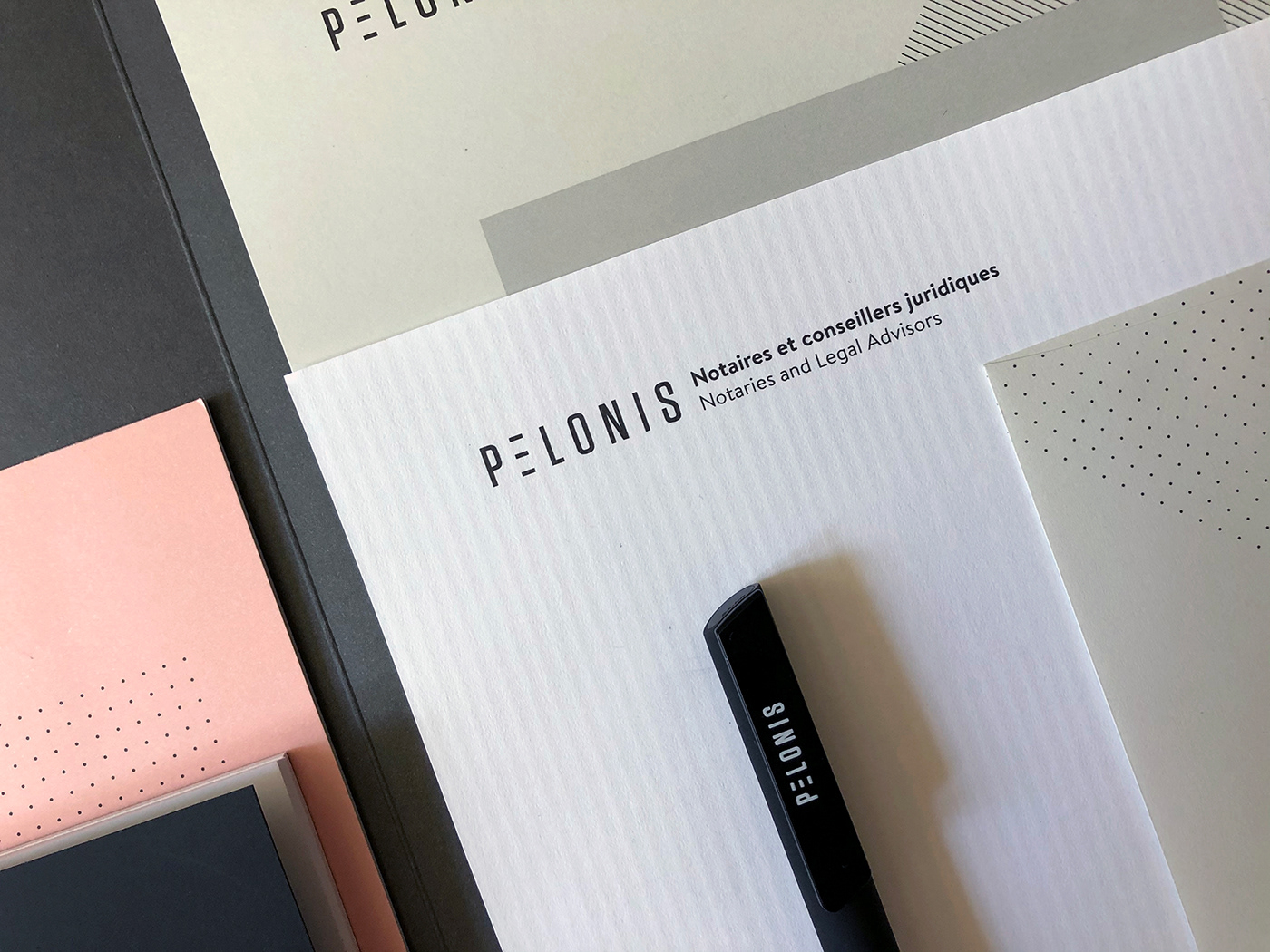 branding  folder identity notary specialty paper Stationery Tagline business card hot foil stamp