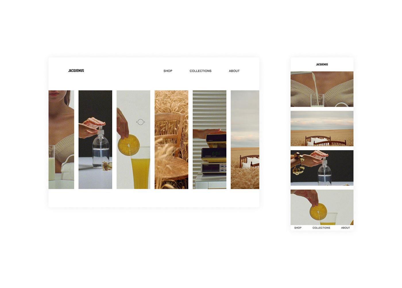 concept design experimentations exploration Interface jacquemus Photography  Website