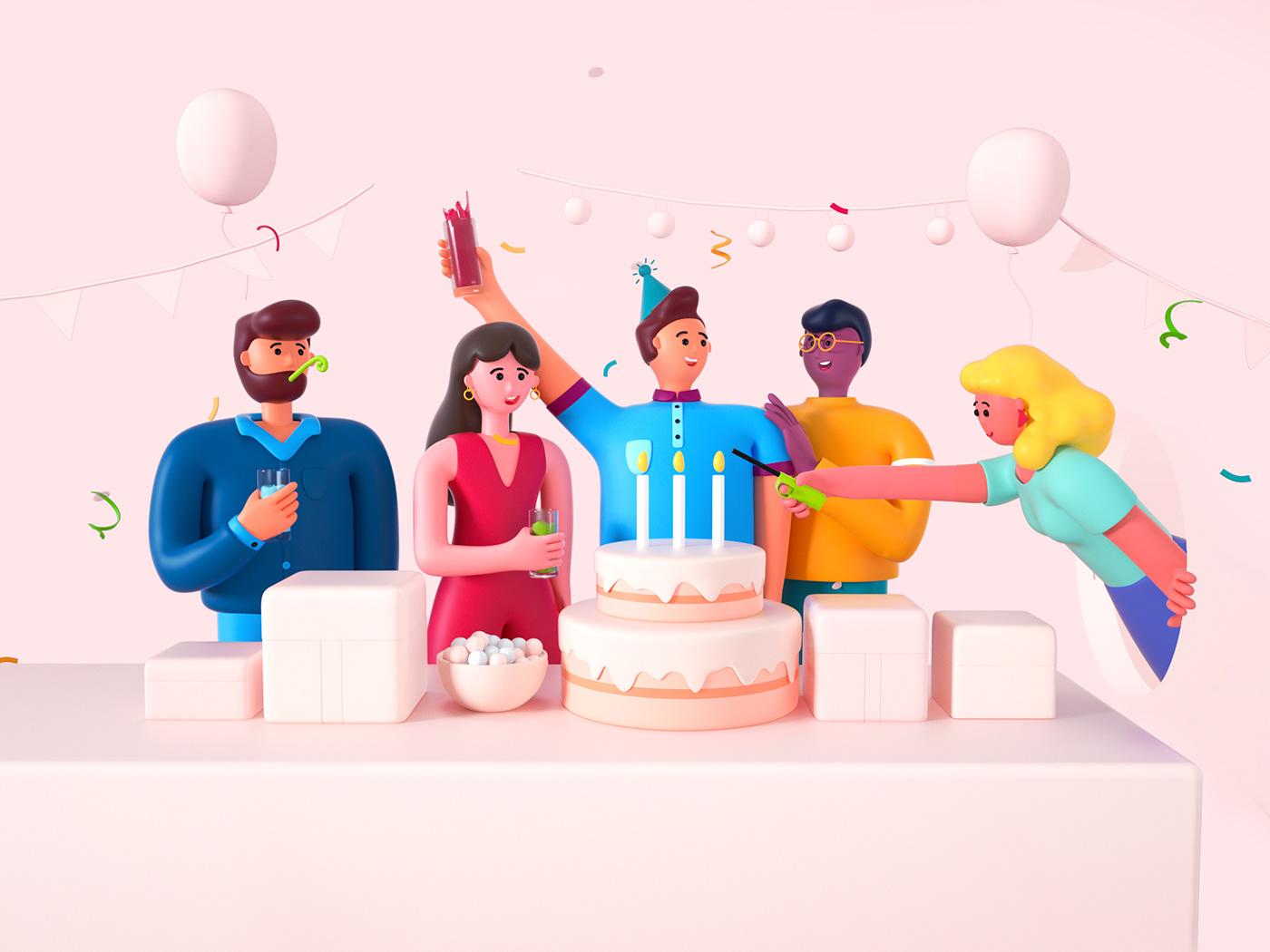 Image may contain: birthday cake, cartoon and cake