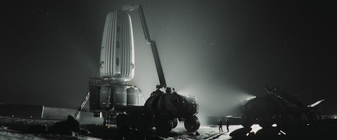 3d animation design HUD inspire moon nasa Scifi Space  space travel ui design