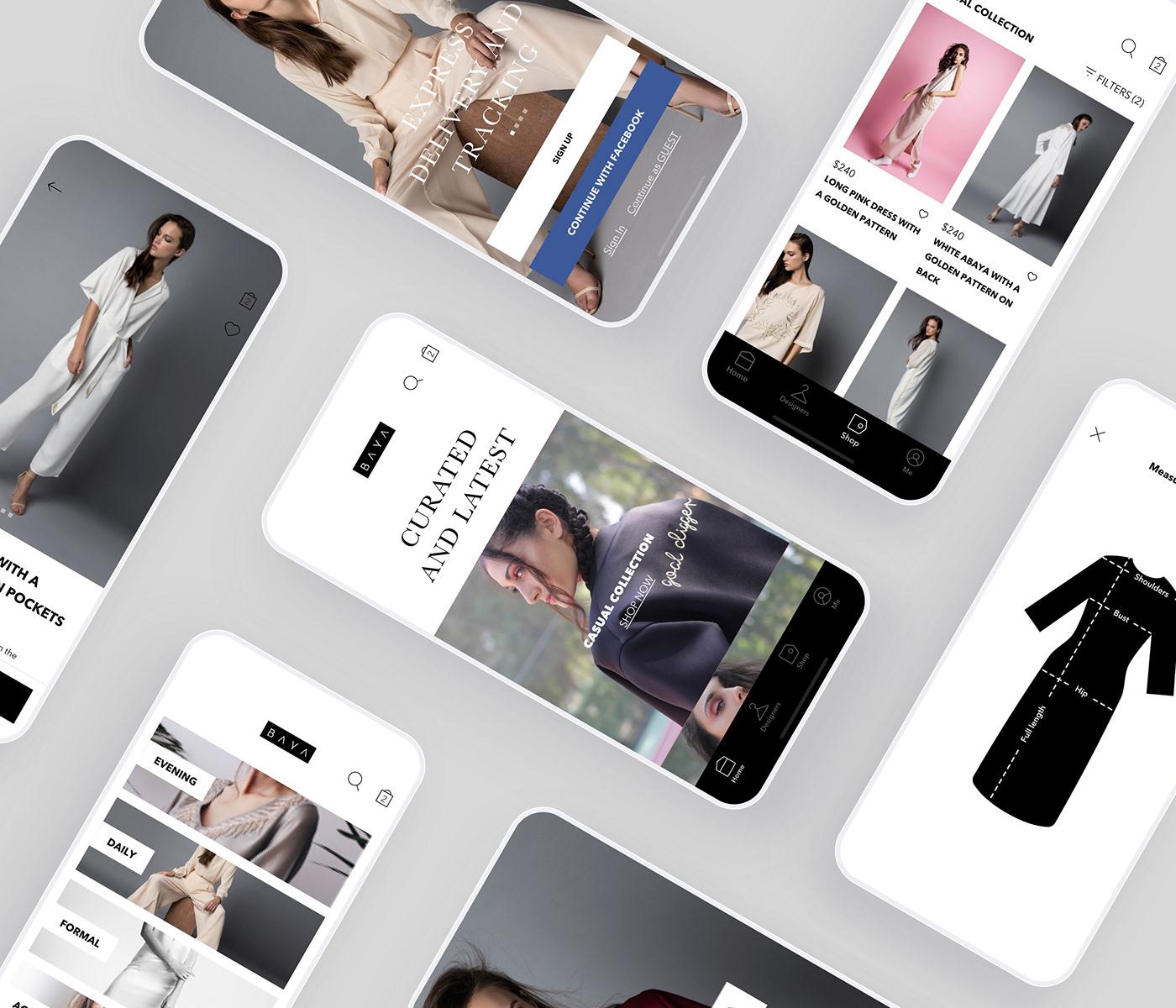 Mobile shopping app iOS screens