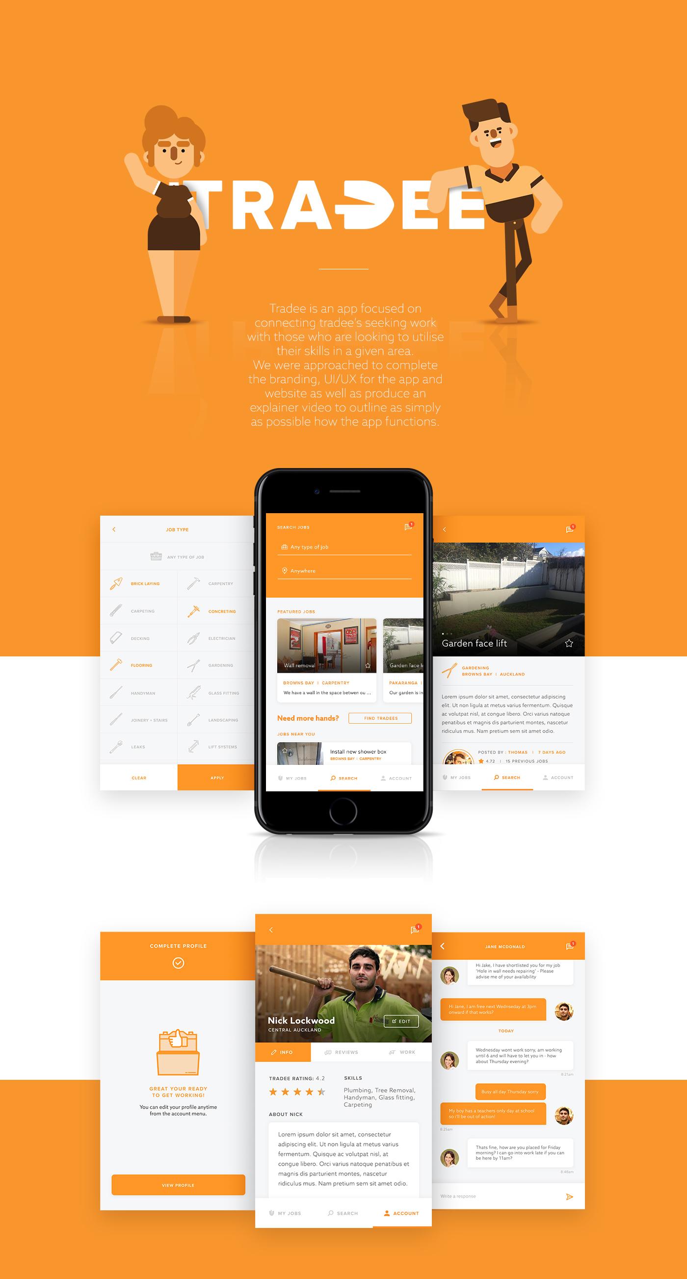 tradee app design explainer video ui ux motion graphics  Web Design