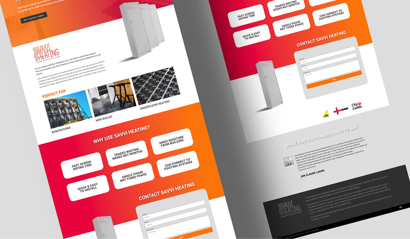 Website designs for heating company Savvi Heating