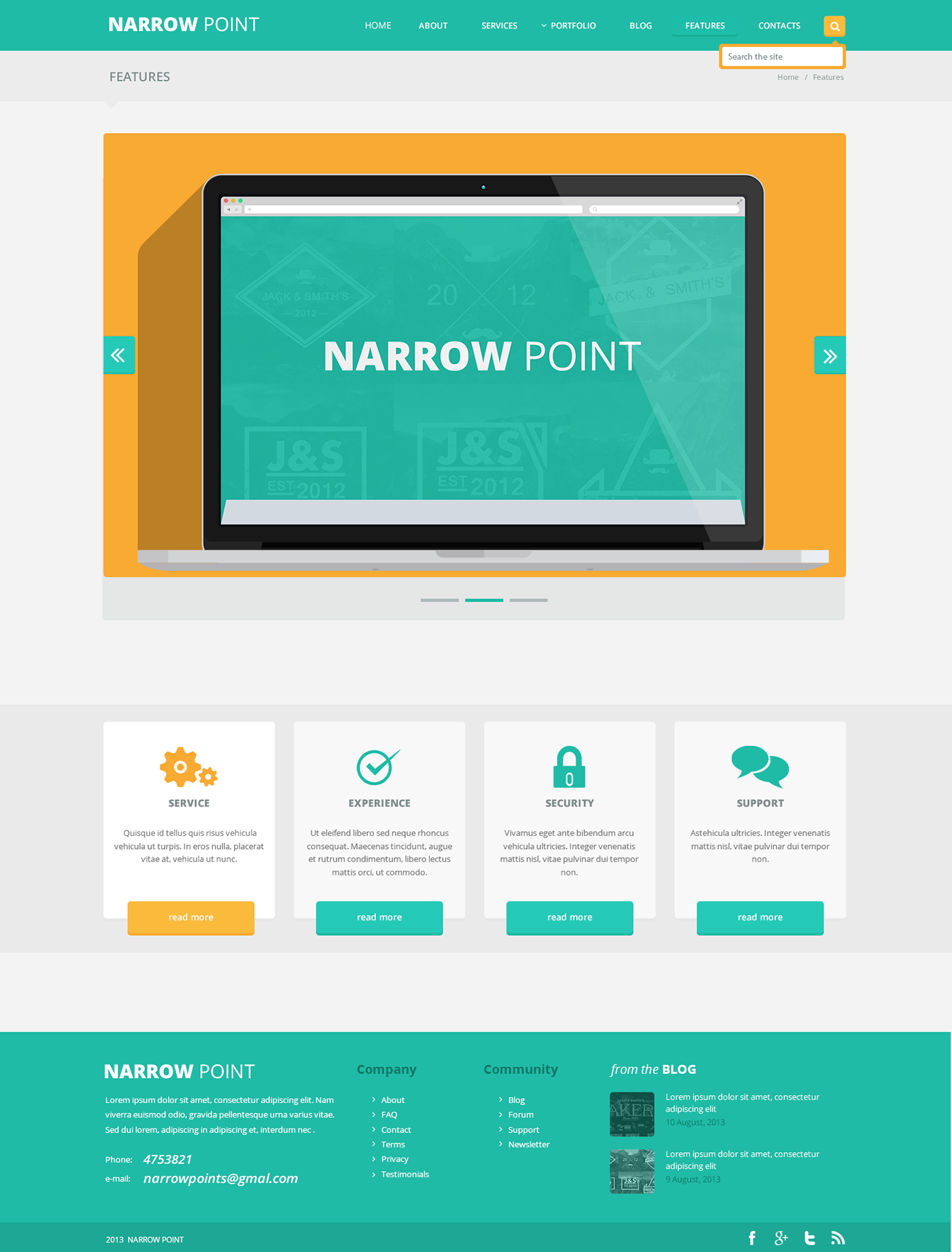 Narrow point flat web design on behance for Blueprint websites