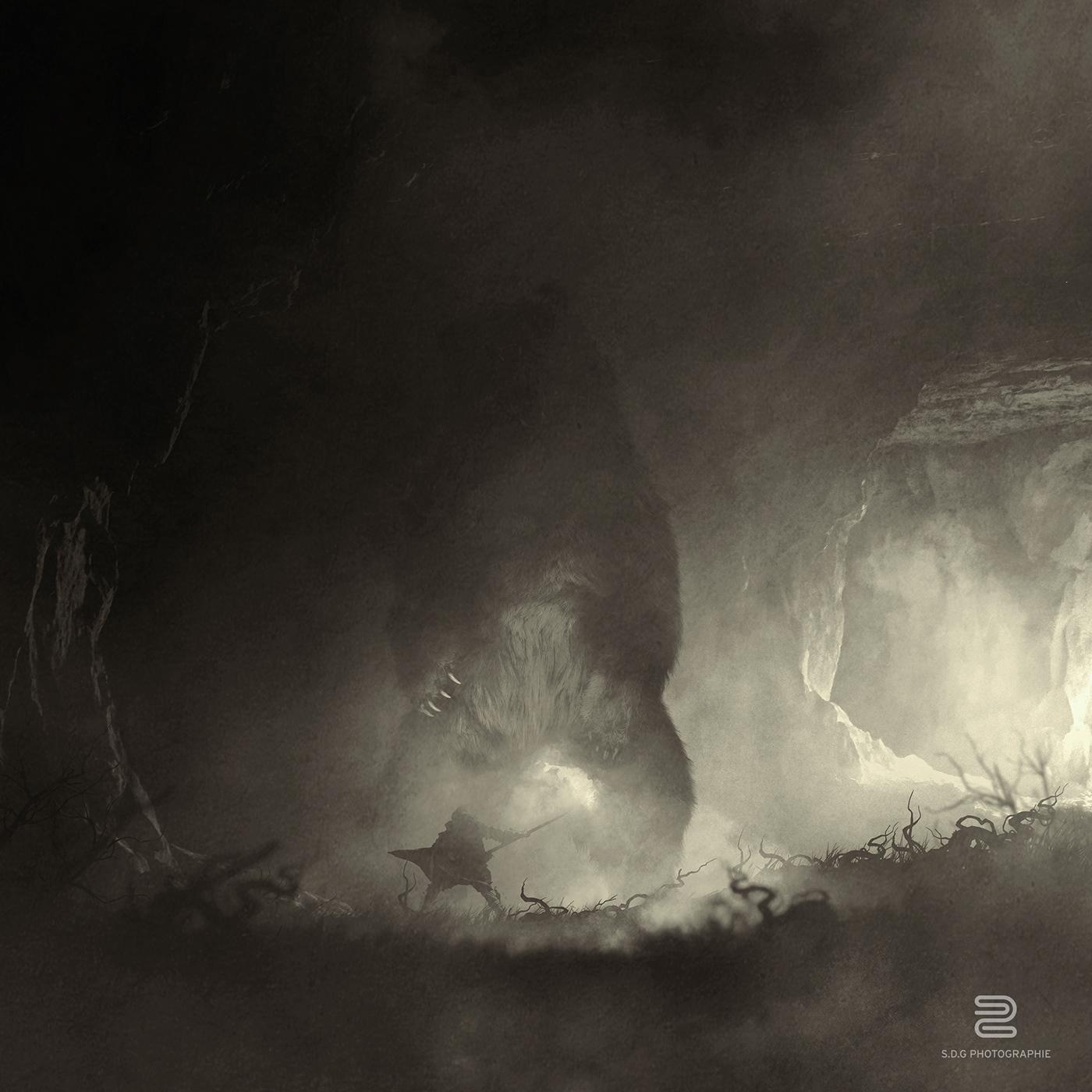 photoshop guardians animals Giants giant monster Silhouette dark