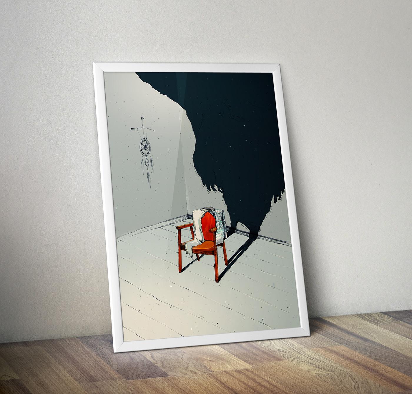 chair shadow truth lie ILLUSTRATION  dream fear dark Drawing
