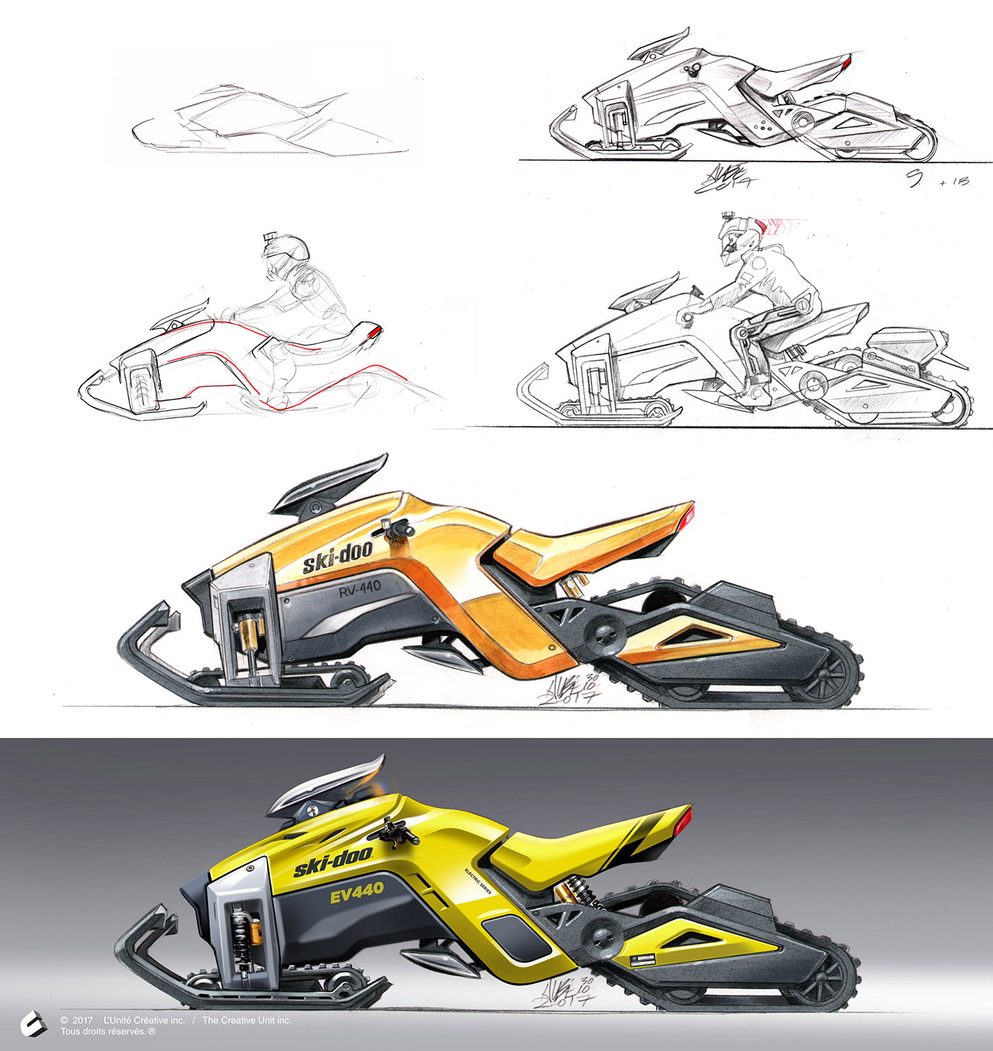 Electric Snowmobile Concept With Three Motorized Tracks On