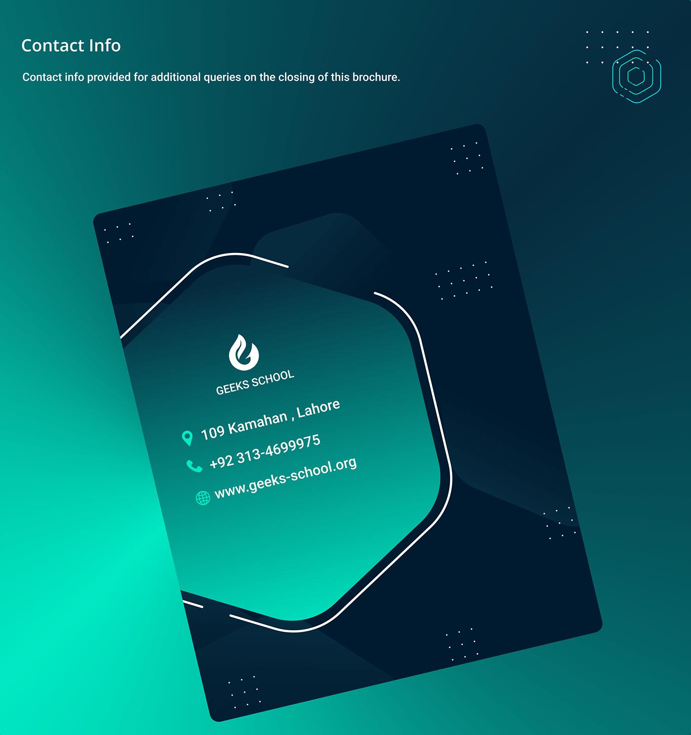 Brouchure Flyer Design geeksinux Graphice Design Interaction design  Logo Design productdesign prospectus uiux visual identity